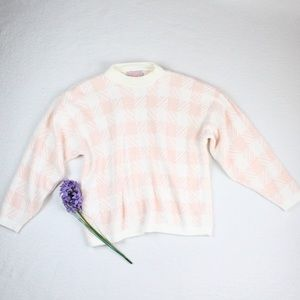 Sweaters - VINTAGE Pastel Pink Checkered Stretchy Sweater